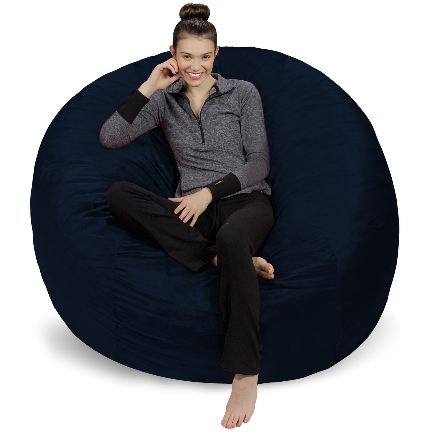 Sofa Sack - Plush Ultra Soft Bean Bags Chairs for Kids, Teens, Adults - Memory Foam Beanless Bag Chair with Microsuede Cover - Foam Filled Furniture for Dorm Room - Navy 6' by Sofa Sack - Bean Bags