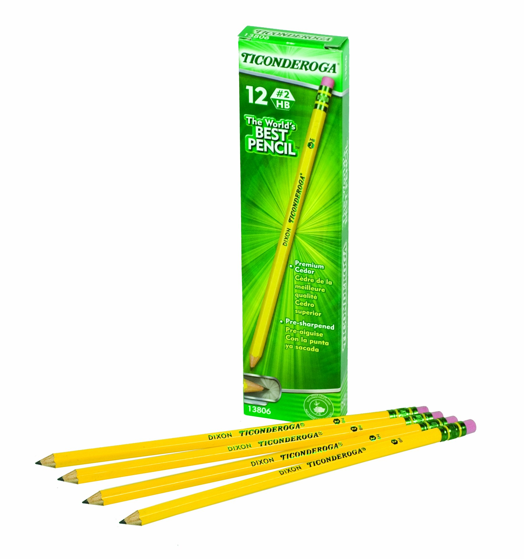 Dixon Ticonderoga Woodcase Pencils with Erasers, SIX Presharpened Boxes of 12, 72 Pencils Total (13806SP) by Dixon (Image #1)