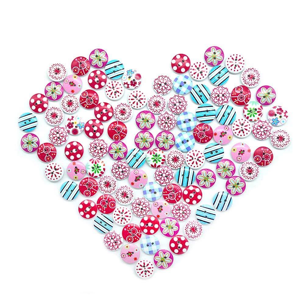 lartisanat et la d/écoration HEEFEN 200pcs 15mm Boutons en Bois Enfants Deux Trous Fleur Spot DIY Boutons /à la Main pour la Couture