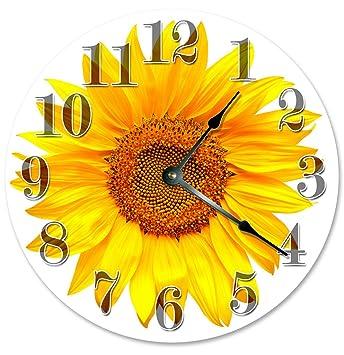 Perfect YELLOW SUNFLOWER Clock Large 10.5u0026quot; Wall Clock Decorative Round Circle  Clock Home Decor Novelty Clock