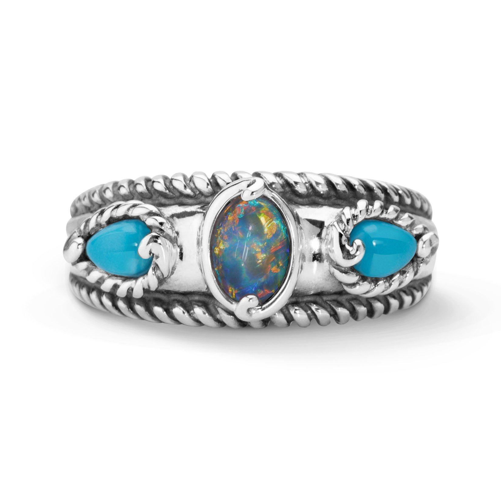 Carolyn Pollack Sterling Silver Sleeping Beauty Turquoise Opal Triple Band Ring,  size  8 by Carolyn Pollack (Image #1)