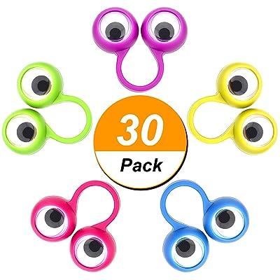 30 Pièces Marionnettes à Doigt Œil sur les Anneaux Bague de Globe Oculaire Googly Faveur de Fête Jouets pour Enfants, 5 Couleurs