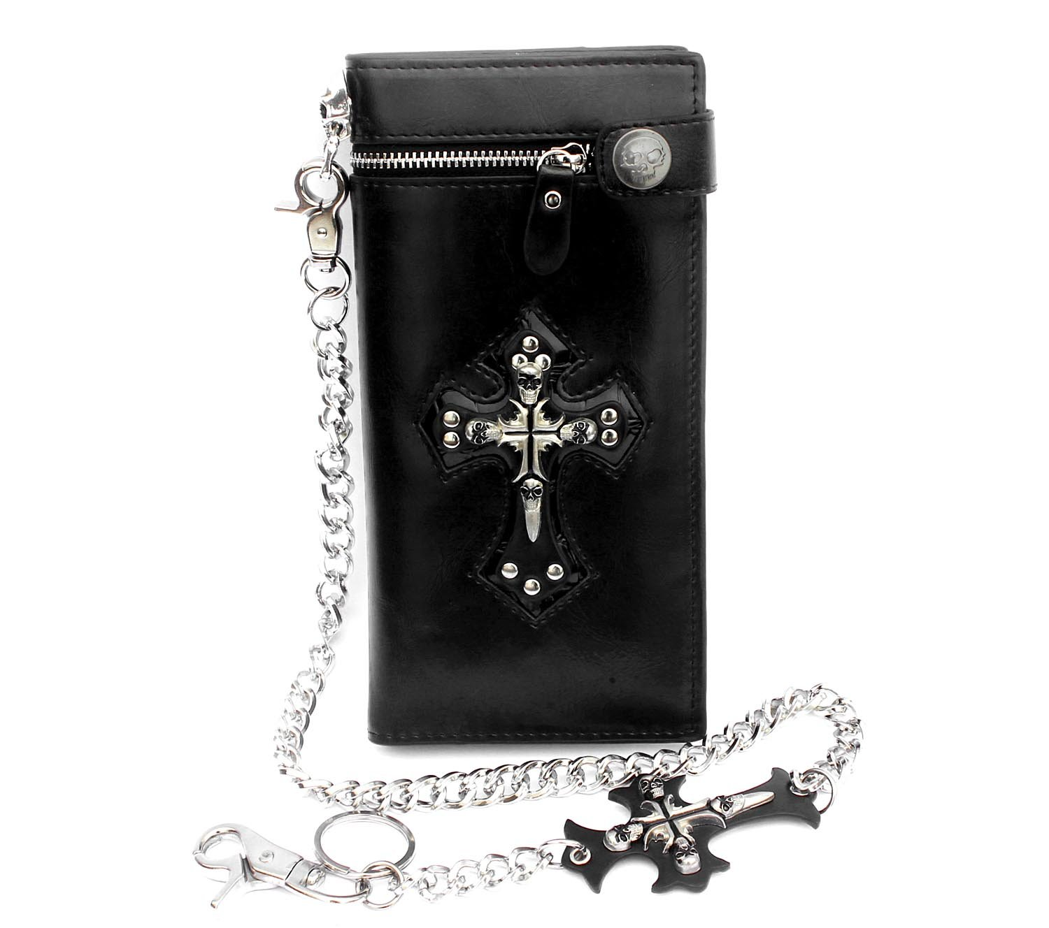 Mens Gothic Skull Cross Leather Biker Punk Wallet with a Metal Long Chain Black