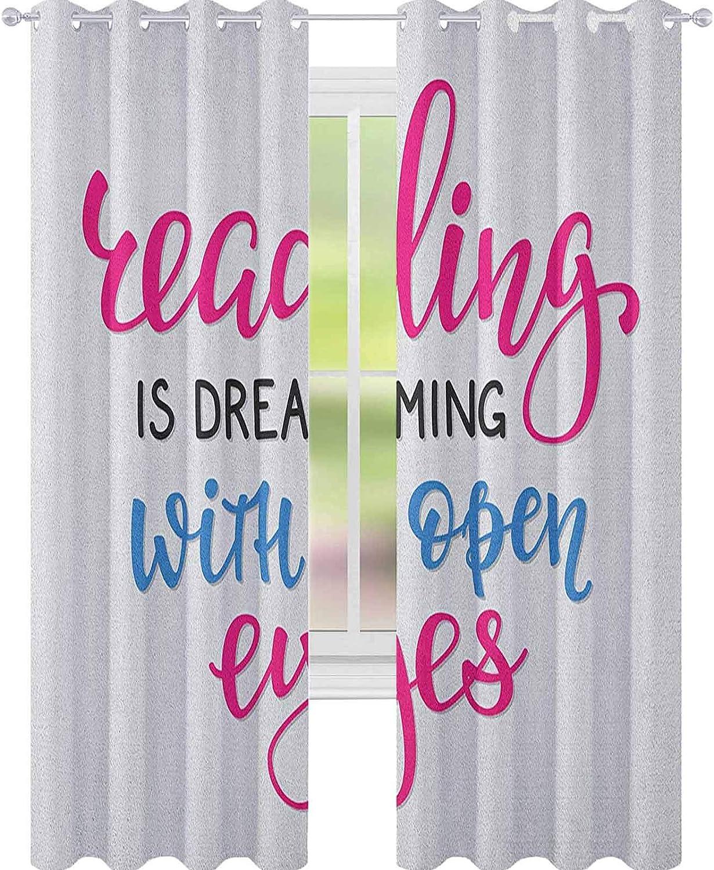YUAZHOQI - Cortina de lectura con ojos abiertos, impresión sobre fondo blanco, cortinas opacas para dormitorio de niños, 132 x 182 cm, color azul y magenta y negro