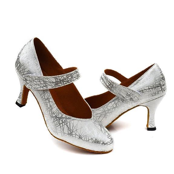 misu - Zapatillas de danza de poliuretano para mujer plateado plata, color plateado, talla 37 1/3
