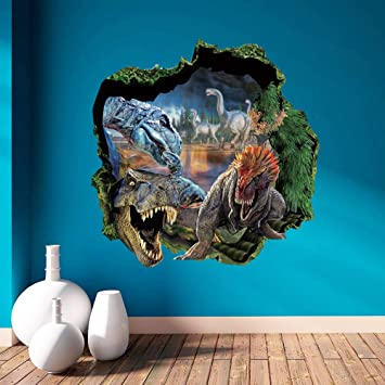 Topme D Dinosaurs Through The Wall Stickers Jurassic Park Home - 3d dinosaur wall decals