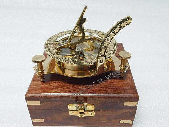 Vintage Messing Sonnenuhr Kompass handgefertigte Kompass Marine Ship Navigation.