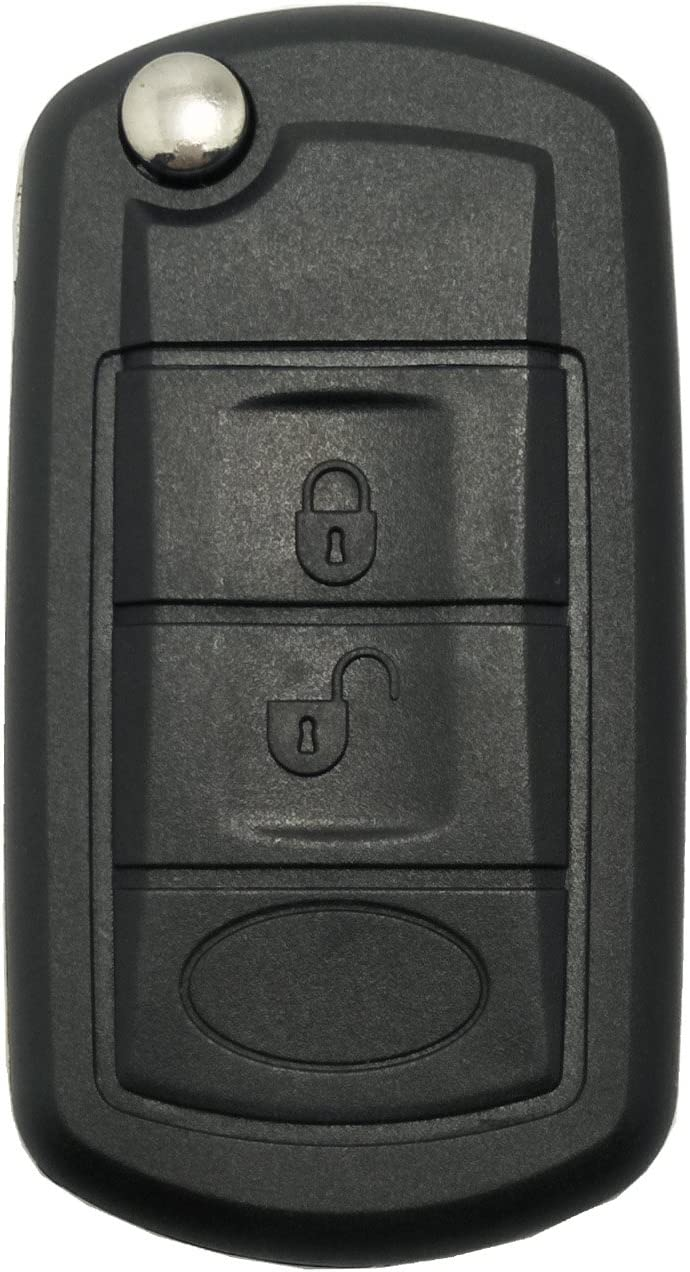 ALIWEI 3 Buttons Flip Key Fob Cover Case Fit for Land Rover Discovery LR3 Range Rover Sport Replacement Keyless Entry Remote Car Key Shell