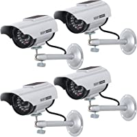 WALI Solar Powered Bullet Dummy Fake Simulated Surveillance Security CCTV Dome Camera Indoor Outdoor with One LED Light, Warning Security Alert Sticker Decal (SOLTC-S4), 4 Packs, Silver