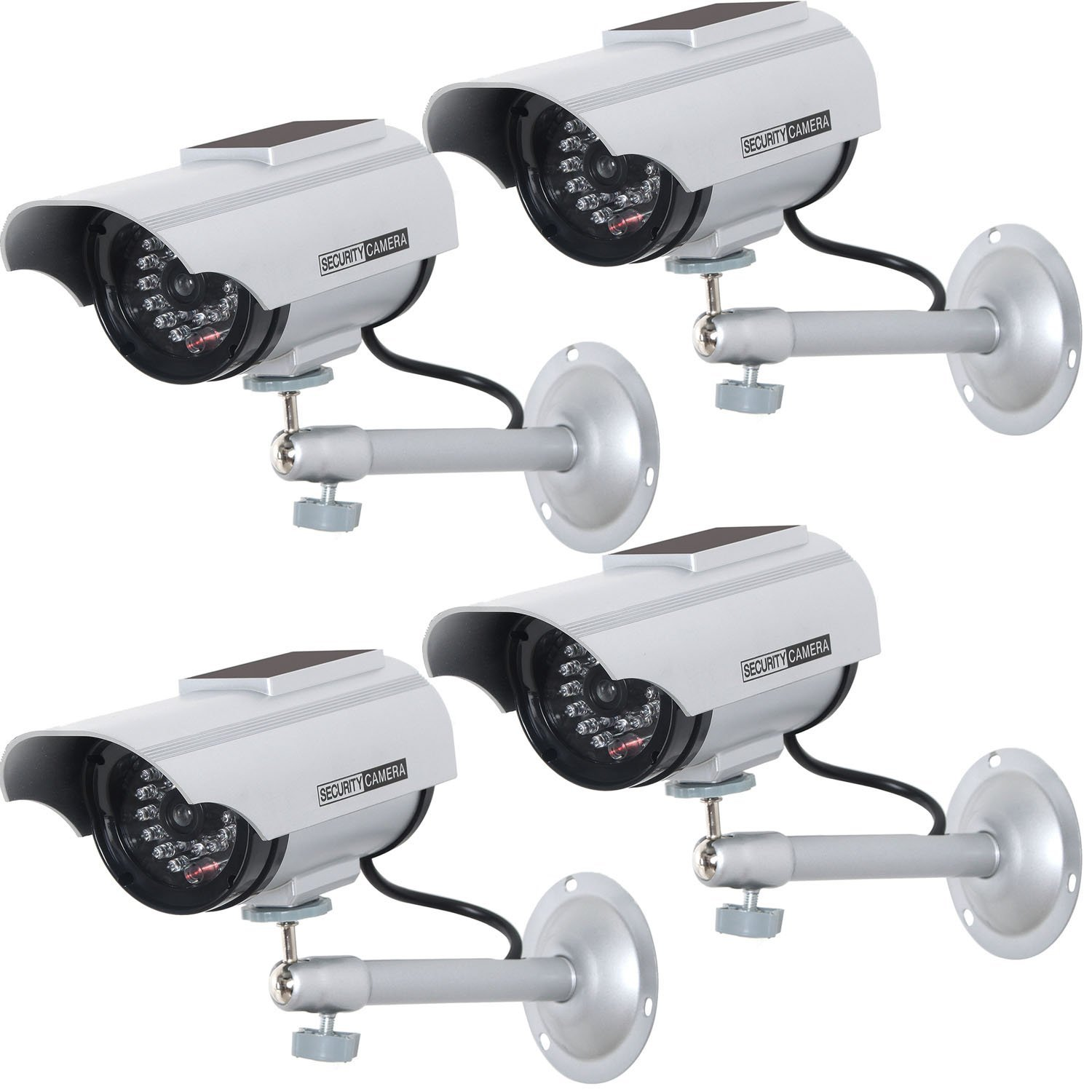 WALI Solar Powered Bullet Dummy Fake Simulated Surveillance Security CCTV Dome Camera Indoor Outdoor with 1 LED Light, Warning Security Alert Sticker Decal (SOLTC-S4), 4 Packs, Silver by WALI