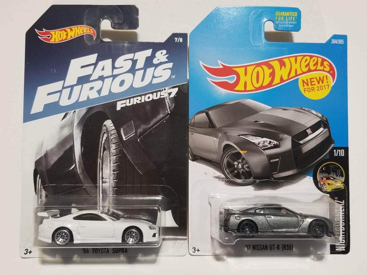 Hot Wheels Fast and Furious Toyota Supra (White) and '17 Nissan GT-R R35 (Grey)