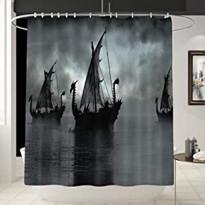Norse Decor Viking Ship Shower Curtain Liner, Fantasy Boat Art Black and White Color Sailing Ship Pattern Curtain for Bathroom/Washroom with 12 Hooks Waterproof,Gift for Man/Girl/Woman 70x 70 Inches