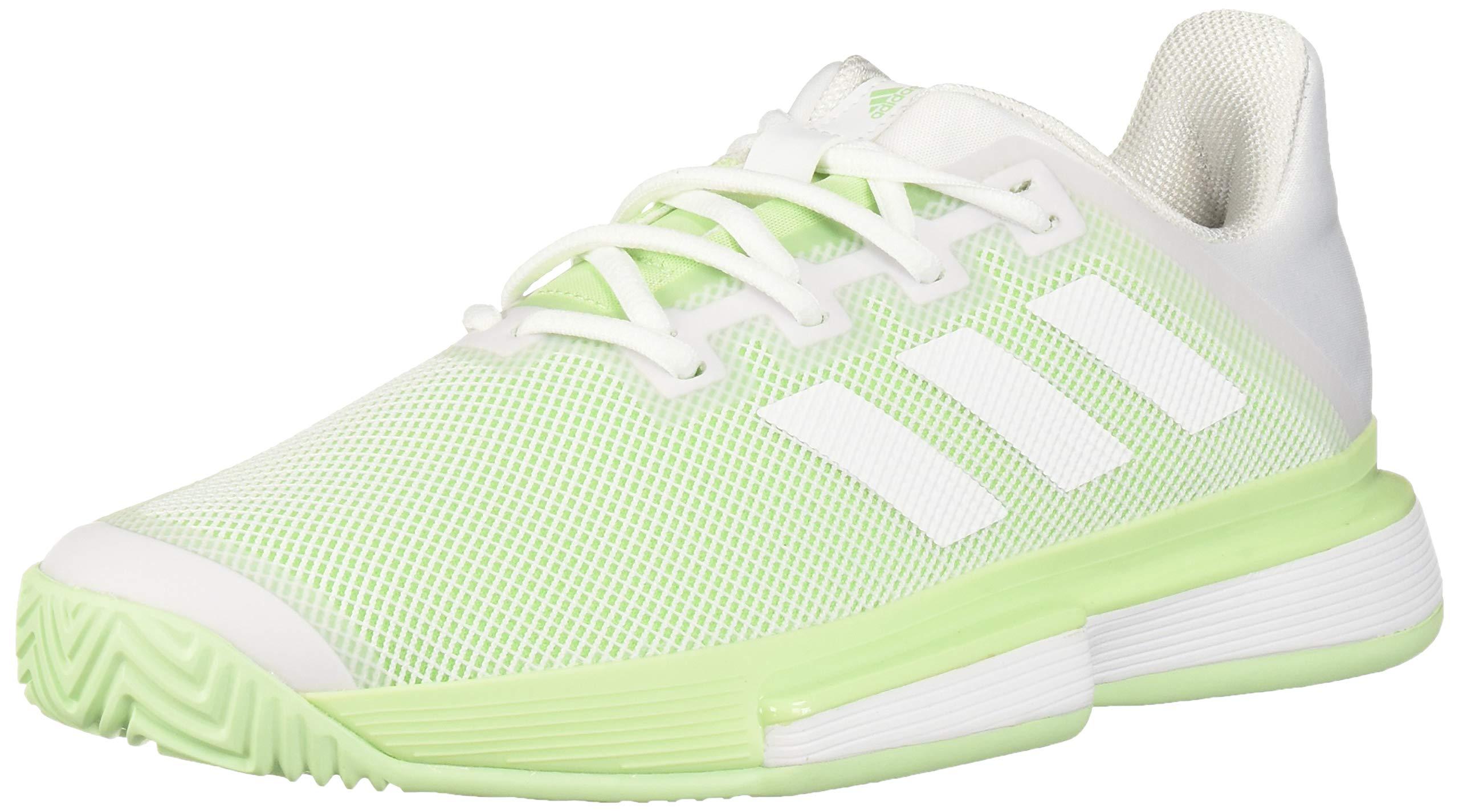 adidas Women's SoleMatch Bounce Tennis Shoe, White/Glow Green, 5 M US
