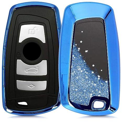 Argento Brillante Solo Keyless Go Guscio Elastico Protezione per Chiave BMW kwmobile Custodia Protettiva per Chiave Controllo remoto BMW con 3 Tasti - Cover Chiave Auto in Silicone TPU