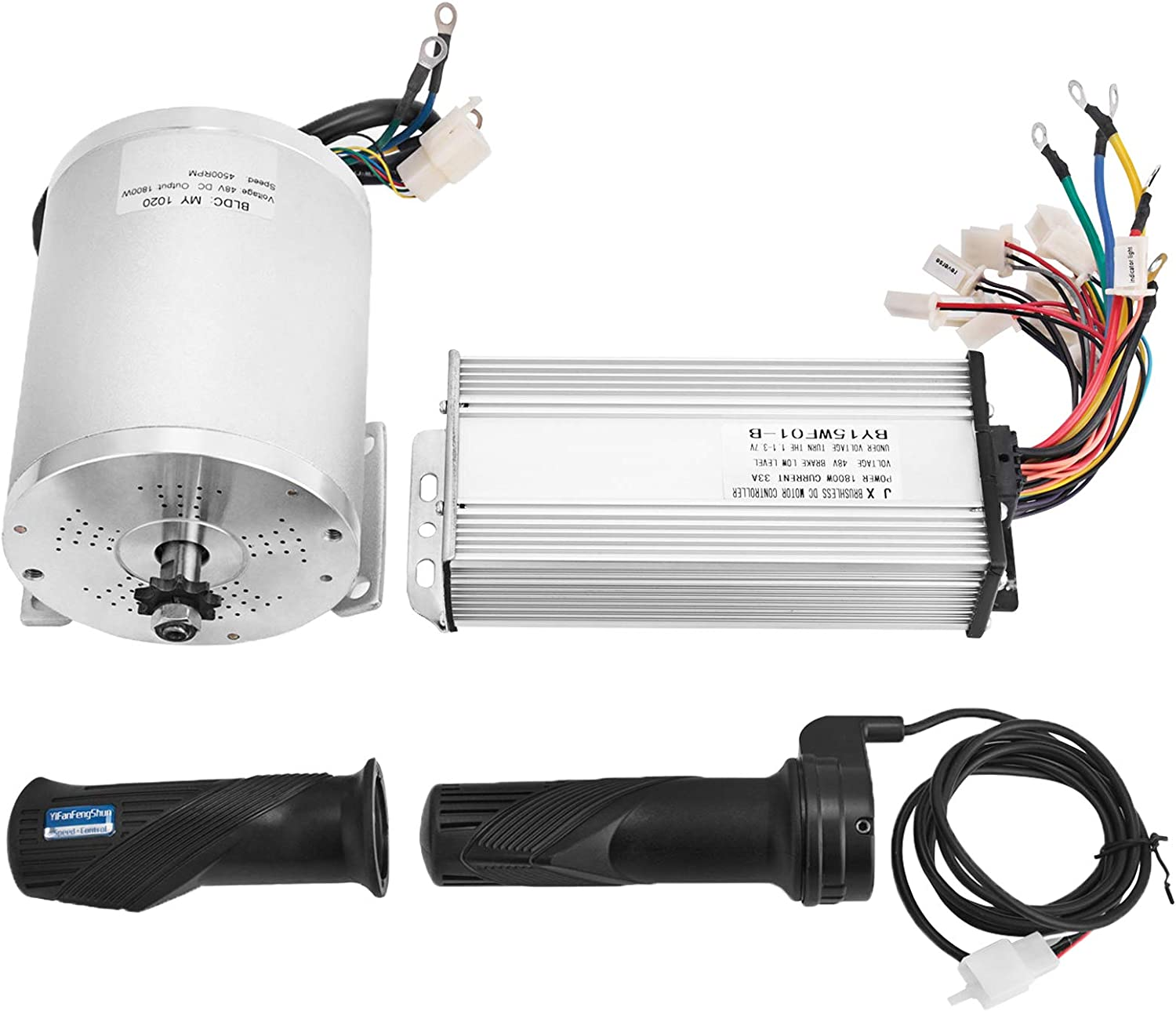 Mophorn 1800W Electric Brushless DC Motor Kit 48V High Speed Brushless Motor with 32A Speed Controller and Throttle Grip Kit for Go Karts E-bike Electric Throttle Motorcycle Scooter and More (1800W) - -