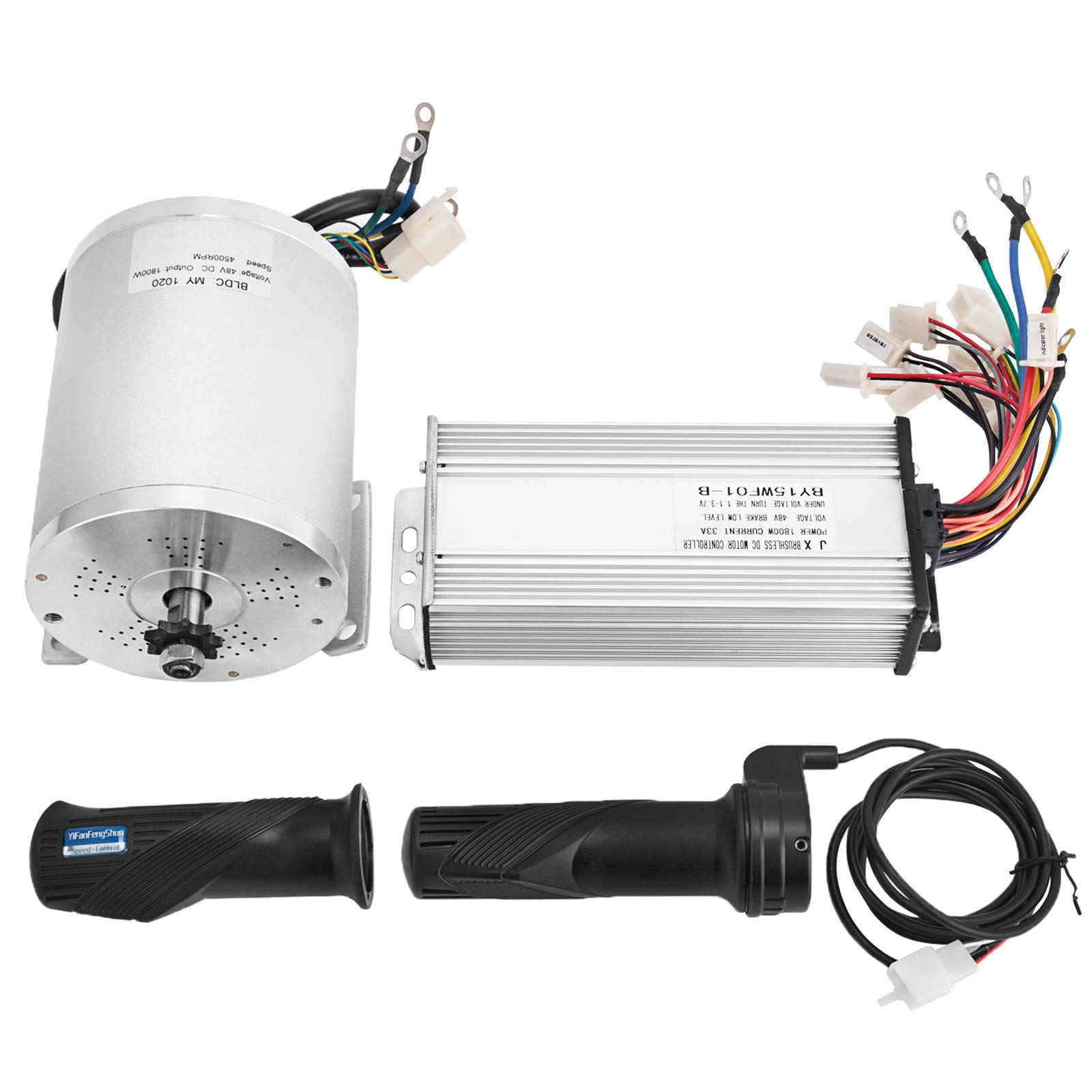 Mophorn 1800W Electric Brushless DC Motor Kit - 48V 5200rpm Brushless Motor with 32A Speed Controller and Throttle Grip Kit for Go Karts E-bike Electric Throttle Motorcycle Scooter
