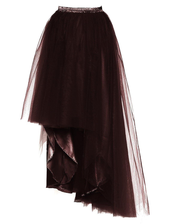 DYSS Womens Tulle Tutu Skirt High Low Wedding Skirt Fluffy Long Dress