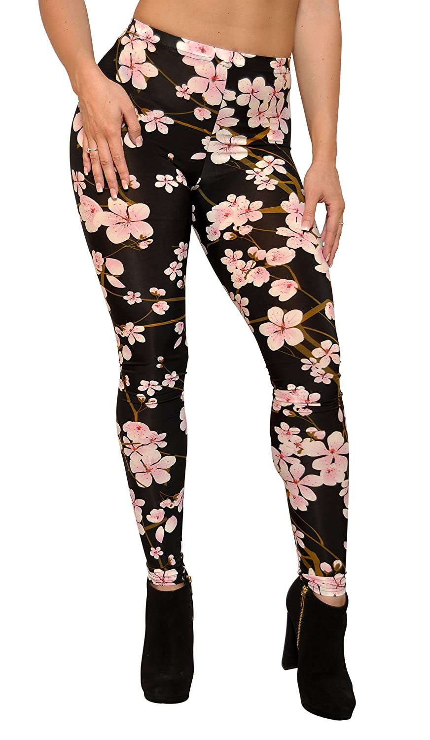 4ec153f58 Amazon.com: BadAssLeggings Women's Cherry Blossom Leggings XL Black:  Clothing