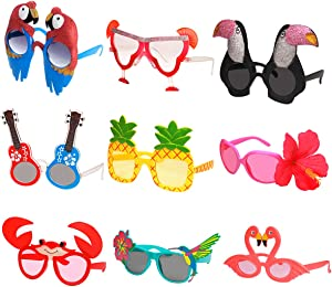 Ocean Line Luau Party Sunglasses - 9 Pairs Funny Hawaiian Glasses, Tropical Fancy Dress Props, Fun Summer Kids Party Favors, Beach Themed Party Supplies Decoration