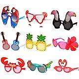 Ocean Line Luau Party Sunglasses - 9 Pairs Funny Hawaiian Glasses, Tropical Fancy Dress Props, Fun Summer Kids Party…