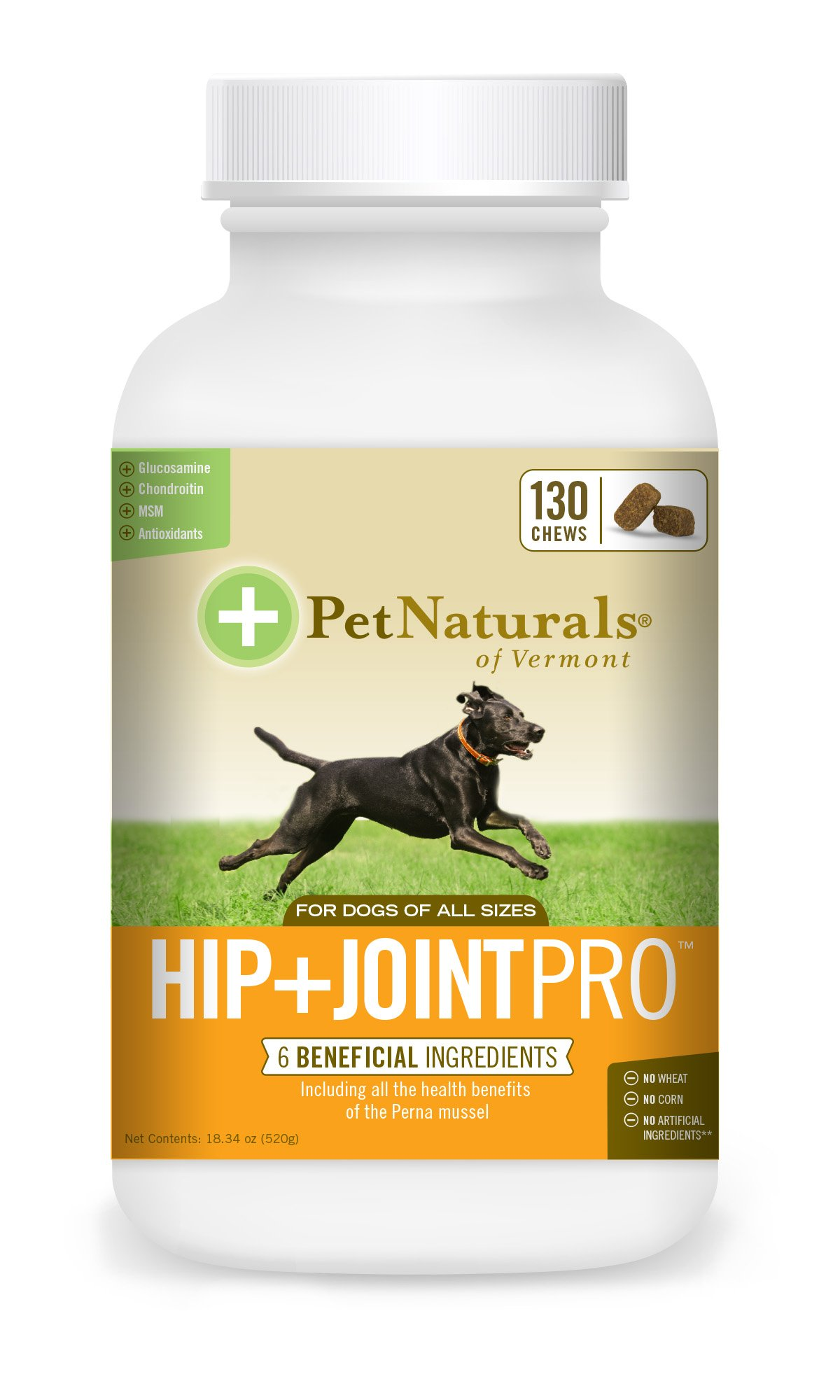 Pet Naturals of Vermont - Hip + Joint PRO, Daily Hip and Joint Supplement for Large Dogs, 130 Bite-Sized Chews