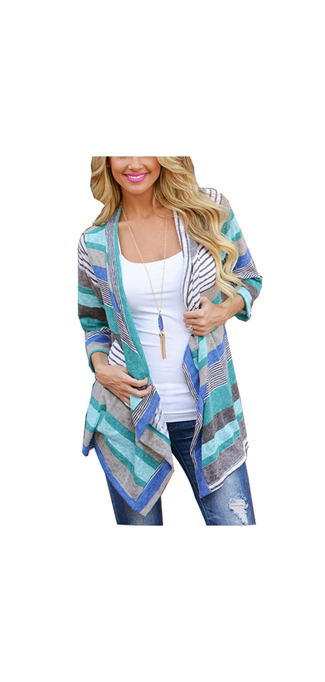 Cardigans For Women With Boho Irregular Front Hem Fashion Print