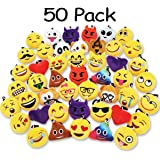 "Ivenf Pack of 50 5cm/2"" mini Emoji Keychain Party Favors Pillows Set Party Supplies/Clawmachine Refill Prizes/Pinata Filler for Kids"