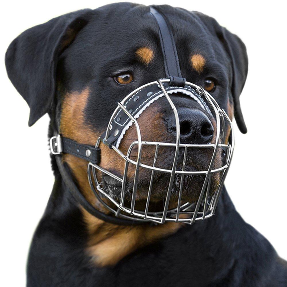 BronzeDog Dog Muzzle Wire Basket Rottweiler Adjustable Leather Straps (L) by BronzeDog