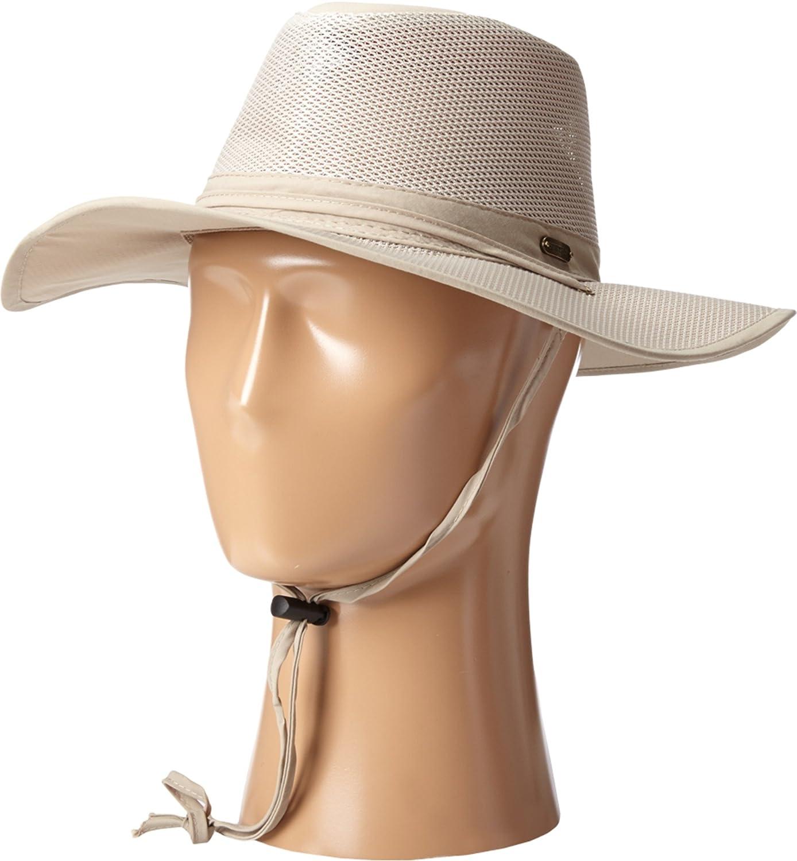 71f6f5484 Stetson Men's Big Brim Mesh Safari With No Fly Zone Insect Shield Fabric  Khaki Hat