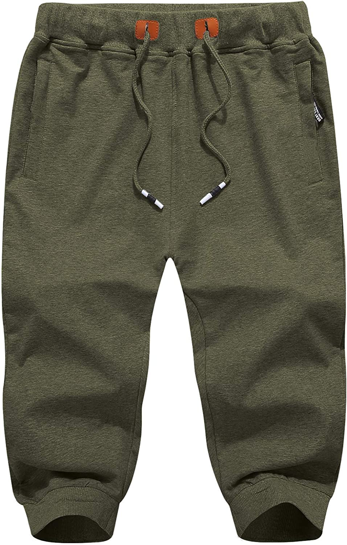 TACVASEN Cotton Shorts 3//4 Joggers Summer Outdoor Short Trousers Elastic Waist Capri Shorts with Zip Pockets