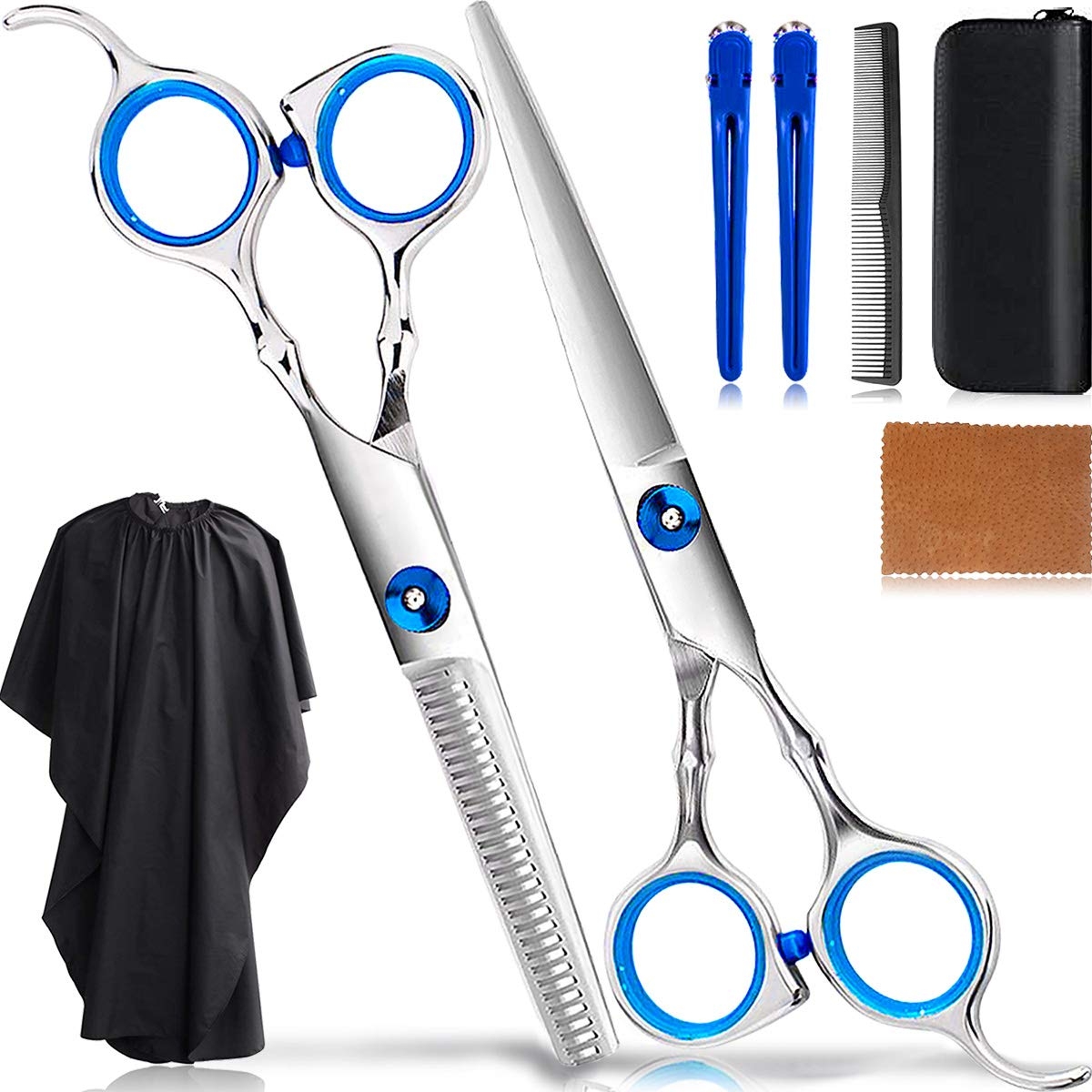 8Pcs Professional Hair Cutting Scissors Set/Hair Thinning Shears Kit/Salon Hairdressing Scissors Barber Tools/Teeth Texturing Texturizing Stainless Steel Sharp Wide Tooth Contain Cape Clips Comb Blue by Akrica Care
