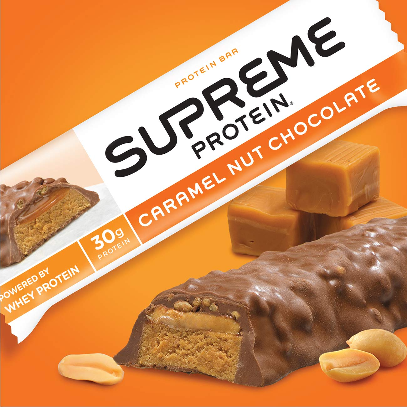 Com Supreme Protein Bar Caramel Nut Chocolate 30g 3 38 Ounce Bars Pack Of 12 Health Personal Care