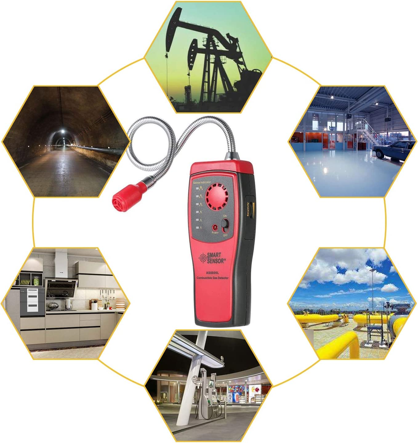 Portable Gas Leak Detector Combustible Propane Methane Gas Sensorr with Sound Warning Adjustable Sensitivity and Flex Probe Natural Gas Detector