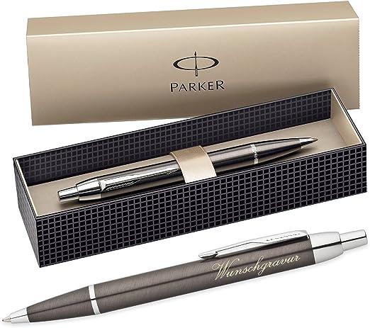 Bolígrafo con grabado Parker Im con caja de regalo, color gris metálico.: Amazon.es: Hogar