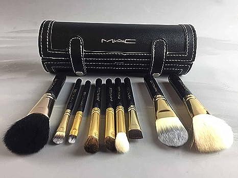 Mac Profesional 9 piezas Juego de cepillo de maquillaje y caso: Amazon.es: Salud y cuidado personal