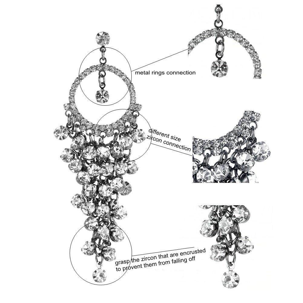1% HundredthZ Large Ornate Silver Cubic Zirconia Tassel Dangle Drop Earrings for Women in Wedding Bride by HundredthZ (Image #3)