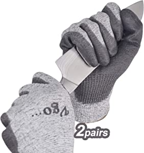 Vgo 2Pairs Level 5 Cut Resistant Gloves EN388 Certified Hand Protection Gloves (Size L, Grey, SK2131)