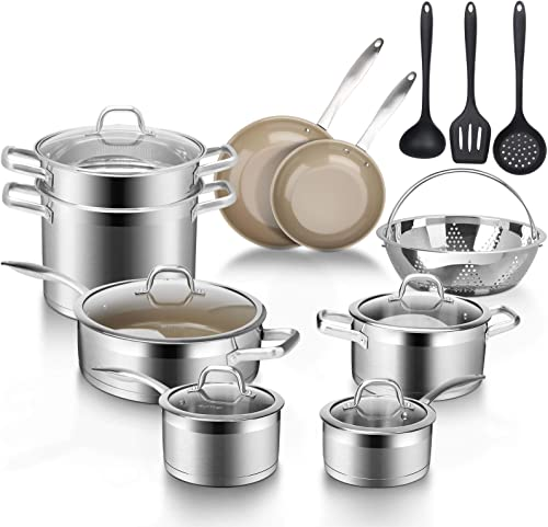 Duxtop 17PC Professional Stainless Steel InductionCookware Set