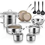 Duxtop 17PC Professional Stainless Steel Induction Cookware Set, Stainless Steel Ceramic Nonstick Pan Set, Impact-bonded Tech