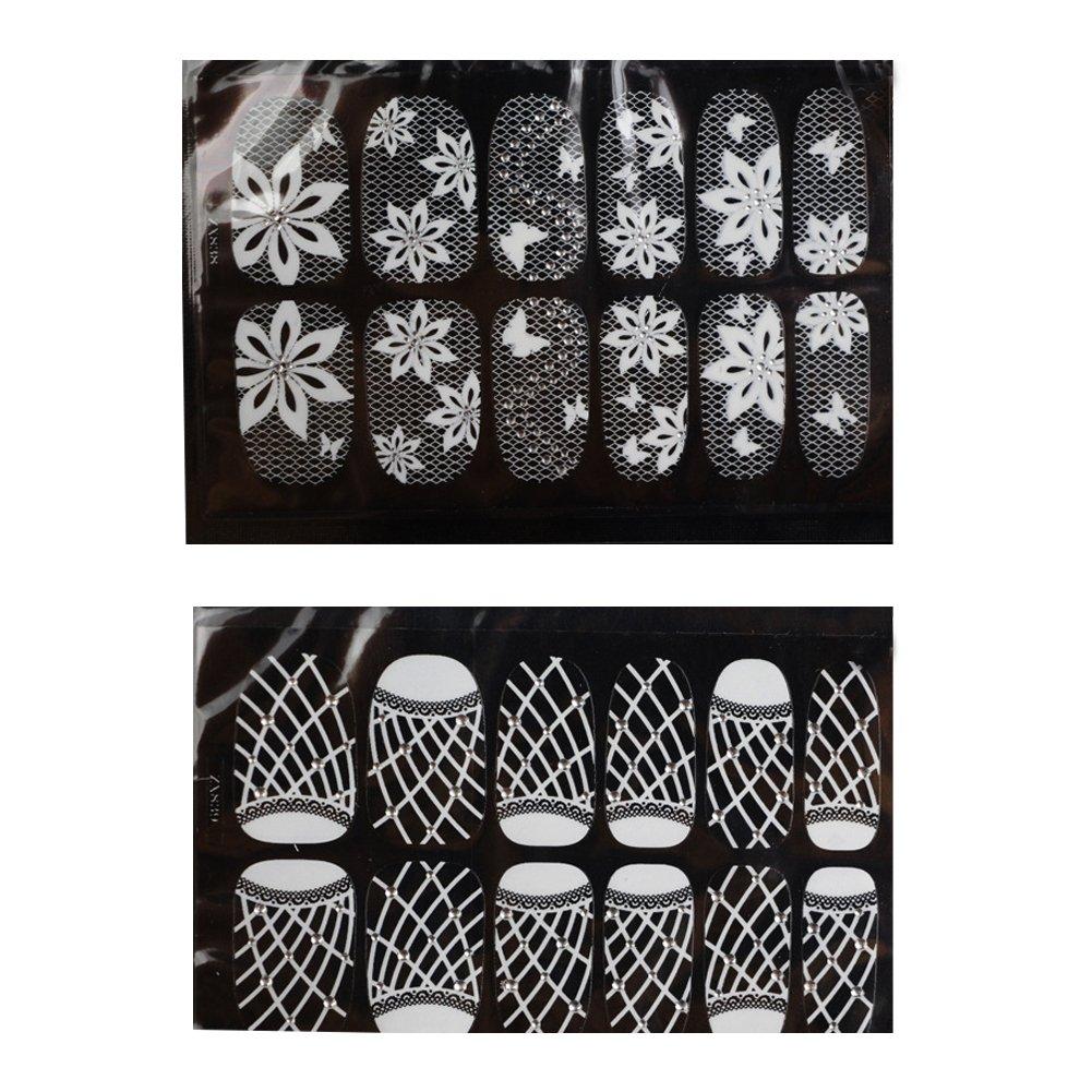 Nail Art Stickers Autocollants Transfert d'eau Stamper Manucure dentelle blanche strass impression de bricolage ongles autocollant 2 pièces (5, 6) Beito