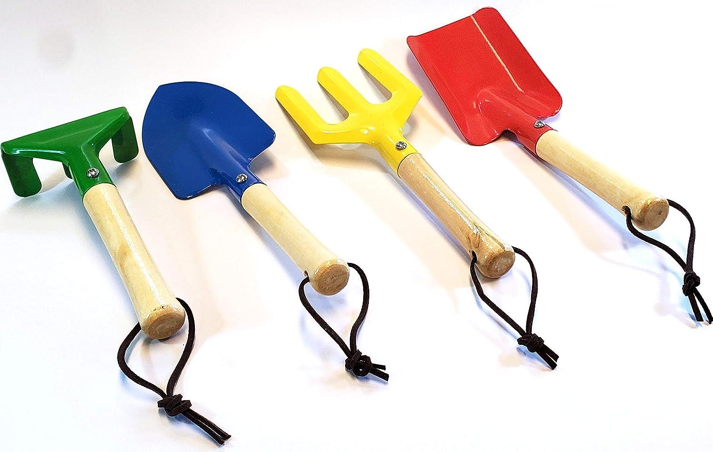 4-Piece Kids Gardening Tools Set, Toy Gardening Set Includes Fork, Trowel, Rake & Shovel, Made of Metal with Sturdy Wooden Handle, Children Beach Sandbox