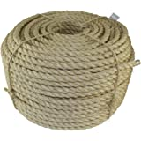 "SGT KNOTS Twisted Sisal Rope 3/16"", 1/4"", 3/8"", 1/2"", 3/4"" and 1"" x Several Lengths (1/4""x50')"