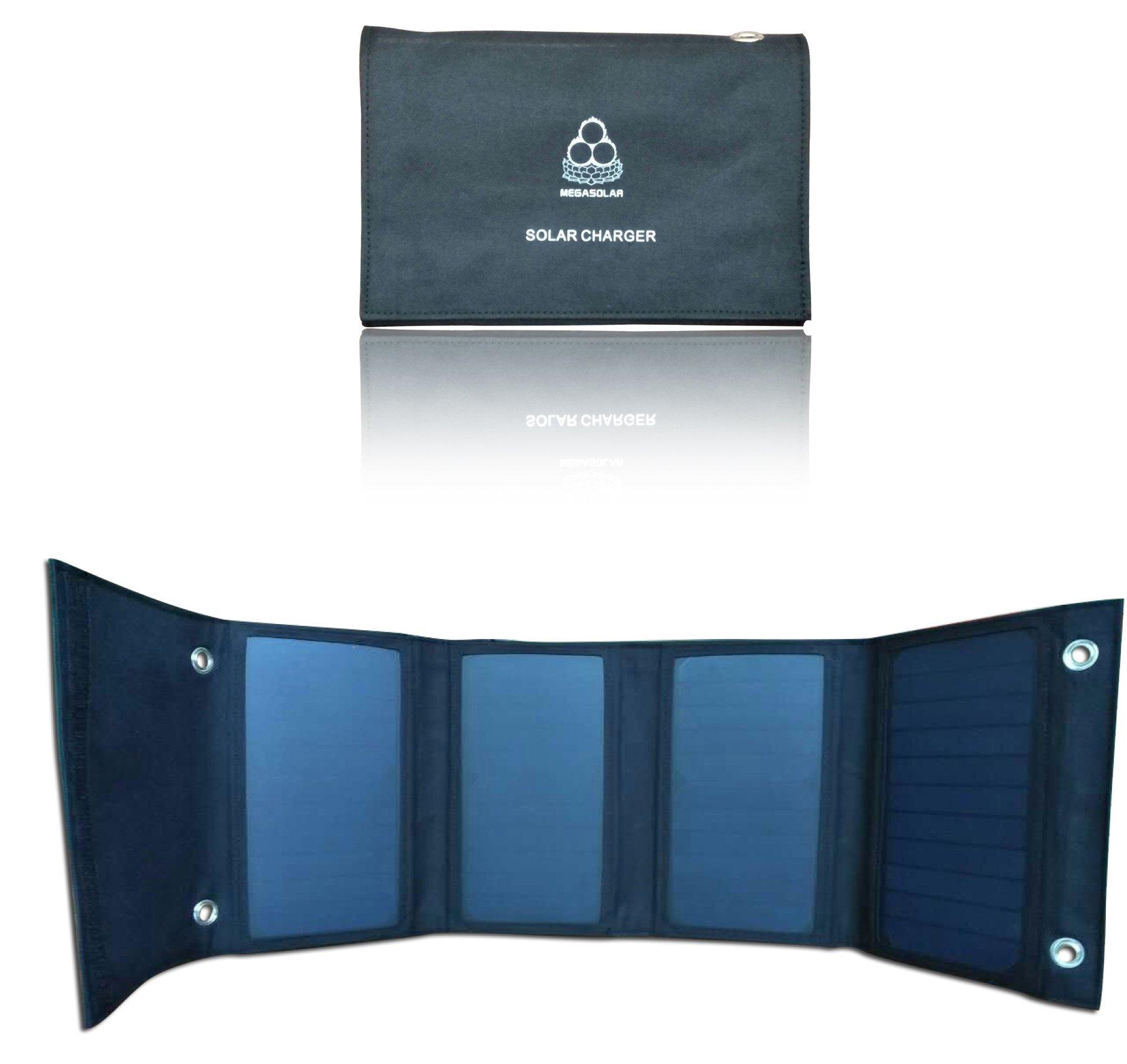 MEGASOLAR 24W Solar Charger Sunpower Solar Panel with Solar Controller Dual 5V USB Output and DC 9V 12V 15V Output, for charging Smartphones Tablets, 5V 9V 12V 15V devices and batteries, camping by SZMJSOLAR