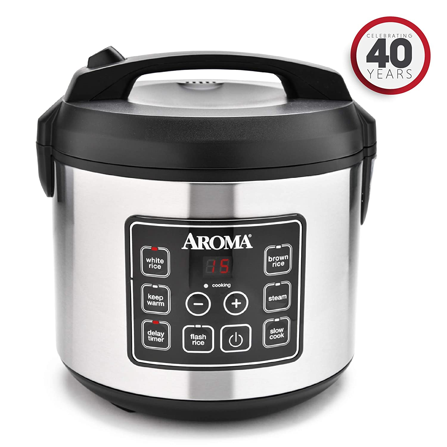 Aroma ARC-150SB 20-Cup, Cooked Digital Rice Cooker and Food Steamer, Black/Silver Aroma Housewares