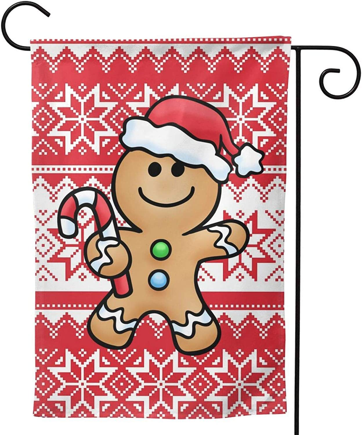 XXINNKQFWY Gingerbread Man Christmas Hat Garden Flag Home Decoration House Flags Garden Decoration Outdoor Decor Polyester Flag 12.5 X 18 Inch