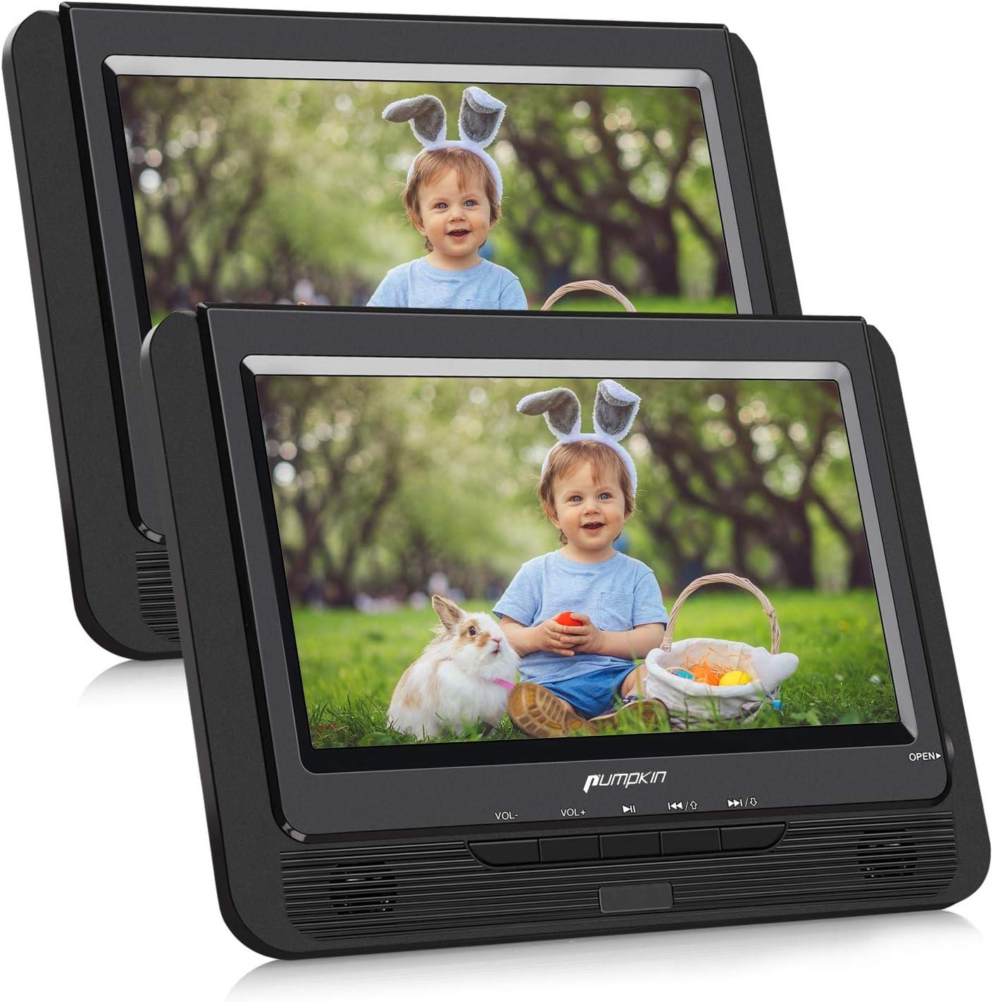Pumpkin DVD Portatil Coche 2 Pantallas 9 pulgadas Reproductor para Reposacabezas con Cargador de coche, Soporta SD/ USB/ CD Multiregiones, con Control Remoto