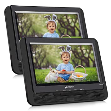 Pumpkin DVD Portatil Coche 2 Pantallas 9 Pulgadas Reproductor para Reposacabezas con Cargador de Coche, Soporta SD/USB/CD Multiregiones, con Control ...