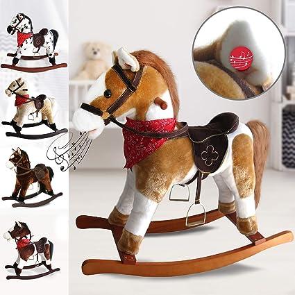 Cavallo A Dondolo Design.Infantastic Cavallo A Dondolo Peluche Effetti Sonori In Legno E Peluche Design A Scelta L L A 74 30 64 Cm Max 20kg Cavallino Per Bambini