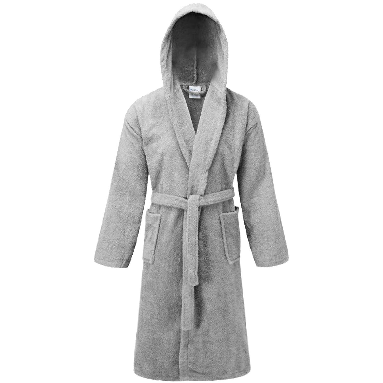 Unisex Bathrobe Dressing Gown Ladies Men 100 Cotton Shawl Hooded Housecoat