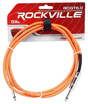 """2 Rockville RCGT6.0G 6/'  1//4/"""" TS to 1//4/'/' TS Guitar//Instrument Cable"""